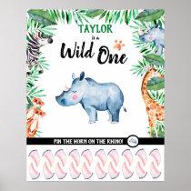 Wild One Game Safari Rhino 1st Birthday Jungle Poster