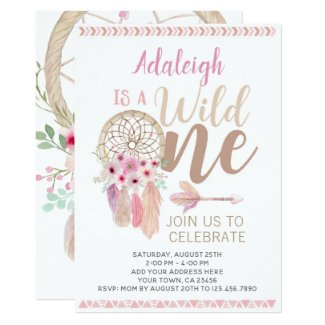 Wild One Girl Birthday Invitation, Dreamcatcher Invitation