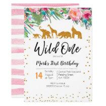 Wild One Girl Birthday Invitation Jungle Animals