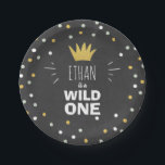 "Wild One Gold Black First birthday Paper Plates<br><div class=""desc"">♥ A perfect addition to your little one&#39;s birthday party! Wild One birthday theme with a gold crown and confetti.</div>"