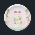"Wild One Gold First birthday Paper Plates Pink<br><div class=""desc"">♥ A perfect addition to your little one&#39;s birthday party! Wild One birthday theme with a gold pink and confetti.</div>"
