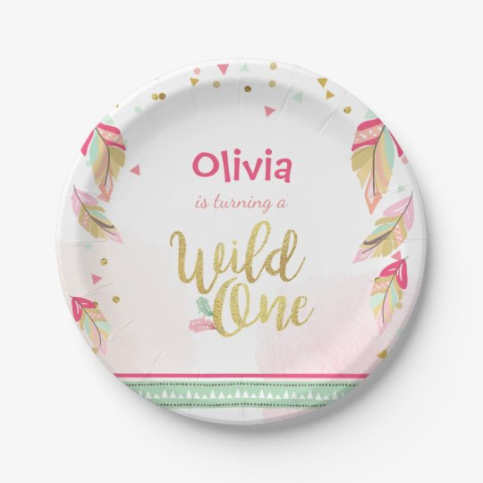 Wild One Gold First birthday Paper Plates Pink  sc 1 st  Zazzle & Wild One Gold First birthday Paper Plates Pink | Zazzle.com