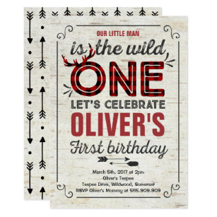 Wild One Invitation Boy Rustic Lumberjack