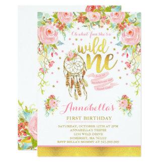 Wild One Invitation Girl Boho Dreamcatcher Party
