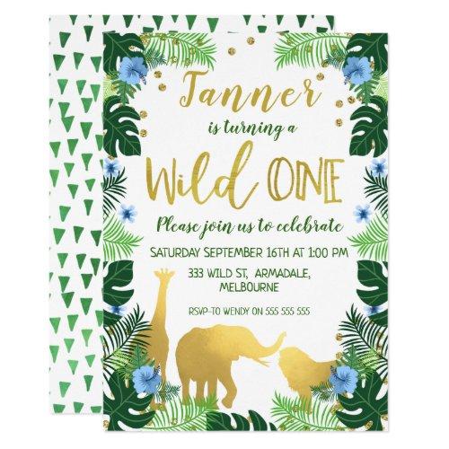 Wild One Jungle 1st Birthday Invitation