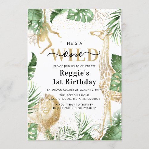 Wild One Jungle Greenery & Gold 1st Birthday Party Invitation