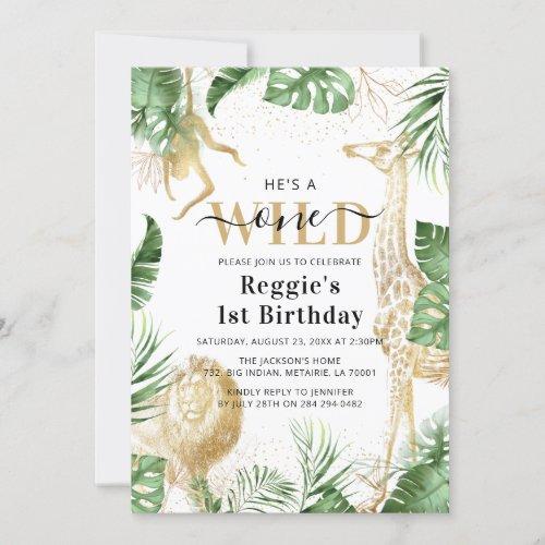 Wild One Jungle Greenery  Gold 1st Birthday Party Invitation