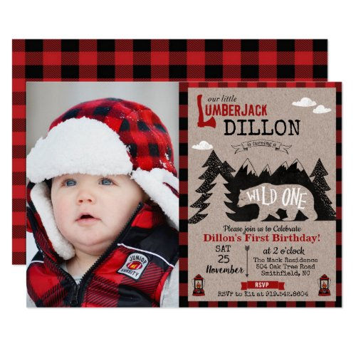 Wild One Lumberjack First 1st Birthday Invitation