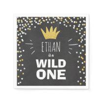 Wild one Paper Napkin Gold Crown First birthday