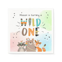 Wild one Paper Napkin Tribal Woodland Animals Boy