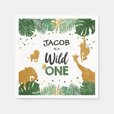 Wild One Paper Napkins Zoo Wild Jungle Animals