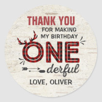 Wild One Party Favor Tag Lumberjack Sticker Seal