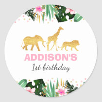 Wild One Party Favor Tag Sticker Jungle Animals