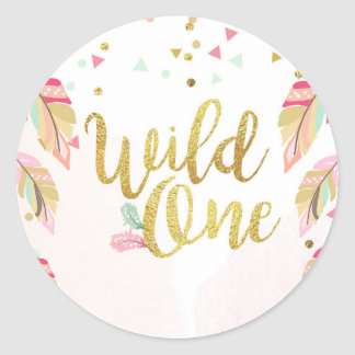Wild one Party Favor Tags Sticker Pink Gold Boho