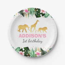 Wild One Party Paper Plate Jungle Animals Party