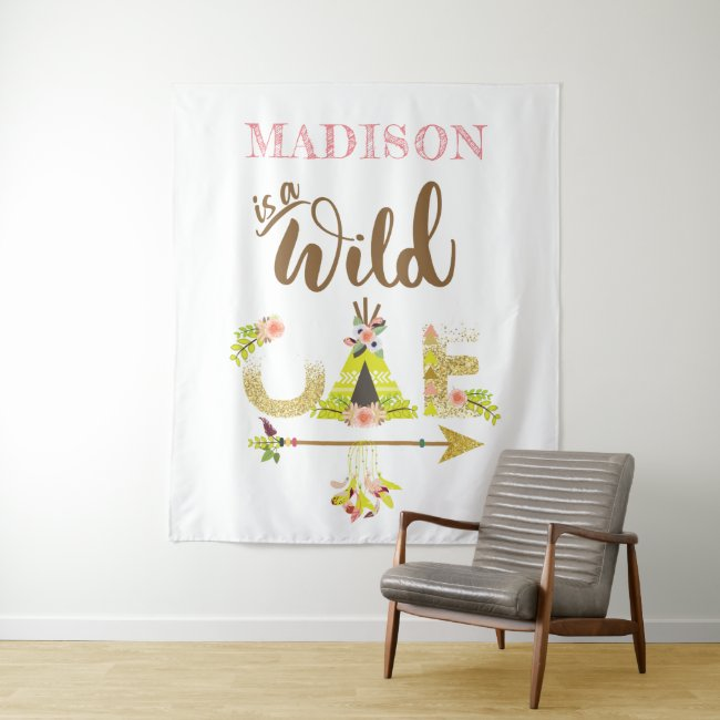 Wild One Personalized Girl First Birthday Tapestry