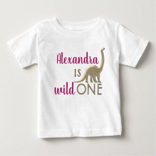 Wild One Pink and Gold Dinosaur 1st Birthday Baby T_Shirt