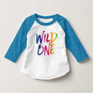 wild one rainbow brushed lettering t shirt