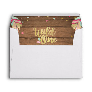 Wild one Rustic Envelope Tribal feathers wood