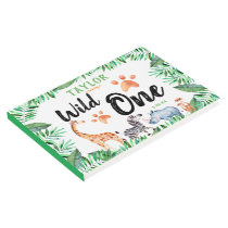 Wild One Safari Animal 1st Birthday Party Guest Book