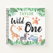 Wild One Safari Animal 1st Birthday Party Guest Notebook