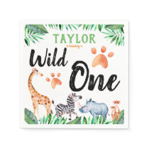 Wild One Safari Animal 1st Birthday Party Napkins