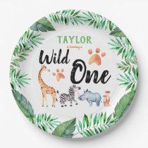 Wild One Safari Animal 1st Birthday Party Paper Plate