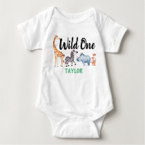 Wild One Safari Animal 1st Birthday Personalized Baby Bodysuit