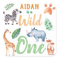 Wild One Safari Animal 1st Birthday Wild Things Square Sticker