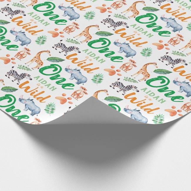 Wild One Safari Animal 1st Birthday Wild Things Wrapping Paper
