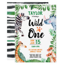 Wild One Safari Animal Kids 1st Birthday Invitation