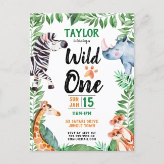 Wild One Safari Animal Kids 1st Birthday Invitation Postcard
