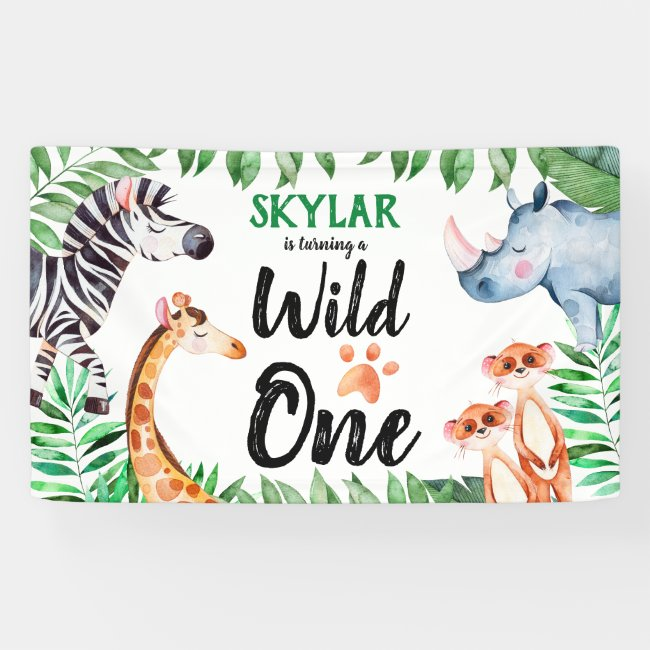 Wild One Safari Animal Kids 1st Birthday Party Banner