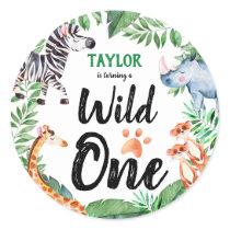 Wild One Safari Animal Kids 1st Birthday Party Classic Round Sticker