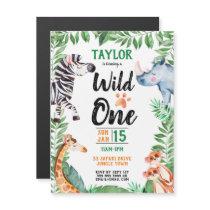 Wild One Safari Animal Kids 1st Birthday Party Magnetic Invitation