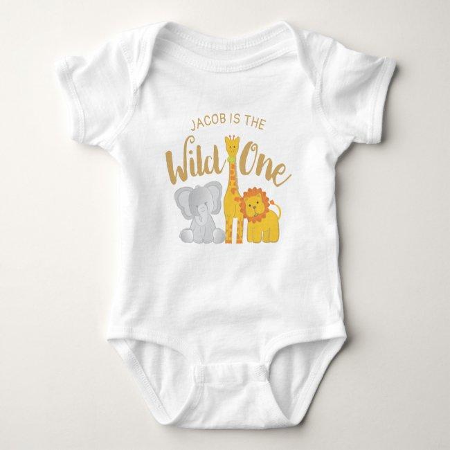 Wild One Safari Animals 1st Birthday Baby Bodysuit