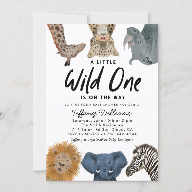 Wild One Safari Animals Boy Baby Shower Invitation