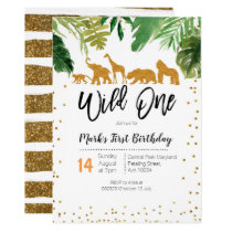Wild One Safari Birthday invitation