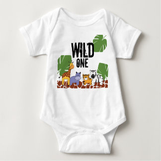 """WILD ONE"" Safari, Jungle Theme First Birthday Baby Bodysuit"