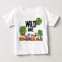 """WILD ONE"" Safari, Jungle Theme First Birthday Baby T-Shirt"
