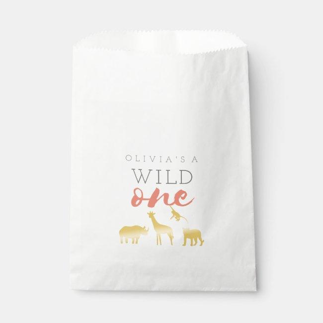 Wild One Safari Pink and Gold 1st Birthday Favor Bag