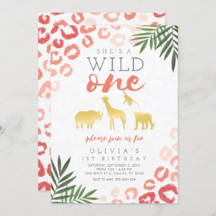 Wild One First Birthday invitations watercolor safari 15 w envelopes and rtn address printing