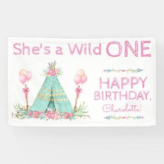 Wild One TeePee 1st Birthday Birthday Banner