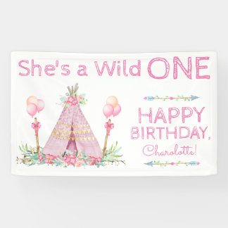 Wild One TeePee Birthday Banner 1st Birthday