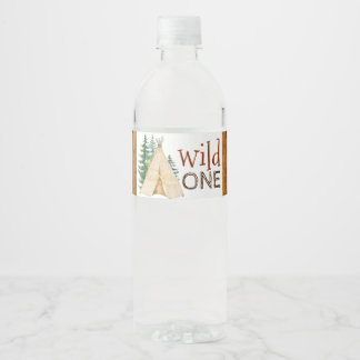 Wild One Teepee Tribal Water Bottle Labels