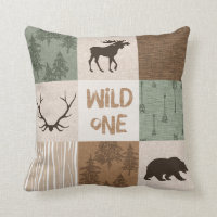 Wild one Throw Pillow - green and brown