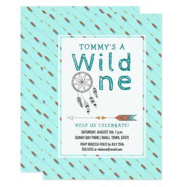 Aztec Themed Wild One Tribal Arrow 1st Birthday Rustic Teal Card