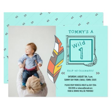 Aztec Themed Wild One Tribal Arrow Feather 1st Birthday Card
