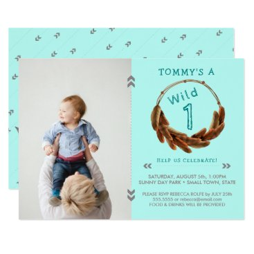 Aztec Themed Wild One Tribal Arrow Feathers Boho 1st Birthday Card