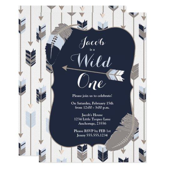 Wild One Tribal Arrows Birthday Party Blue Grey Invitation Zazzle Com